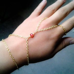 Bohemian Slave Bracelet Red Gem Hand Chain